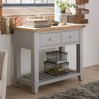 Wilkinson Furniture Clemence Soft Grey and Solid Oak Large Console Table