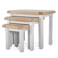 Wilkinson Furniture Clemence Soft Grey and Solid Oak Nest of Tables