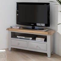 Wilkinson Furniture Clemence Soft Grey and Solid Oak Corner TV Unit