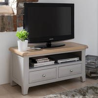 Wilkinson Furniture Clemence Soft Grey and Solid Oak TV Unit
