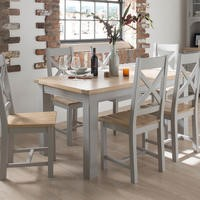 Wilkinson Furniture Clemence Soft Grey and Solid Oak Extending Dining Table - 150-190cm
