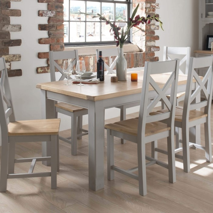 Wilkinson furniture clemence soft grey and solid oak for Gray kitchen table and chairs