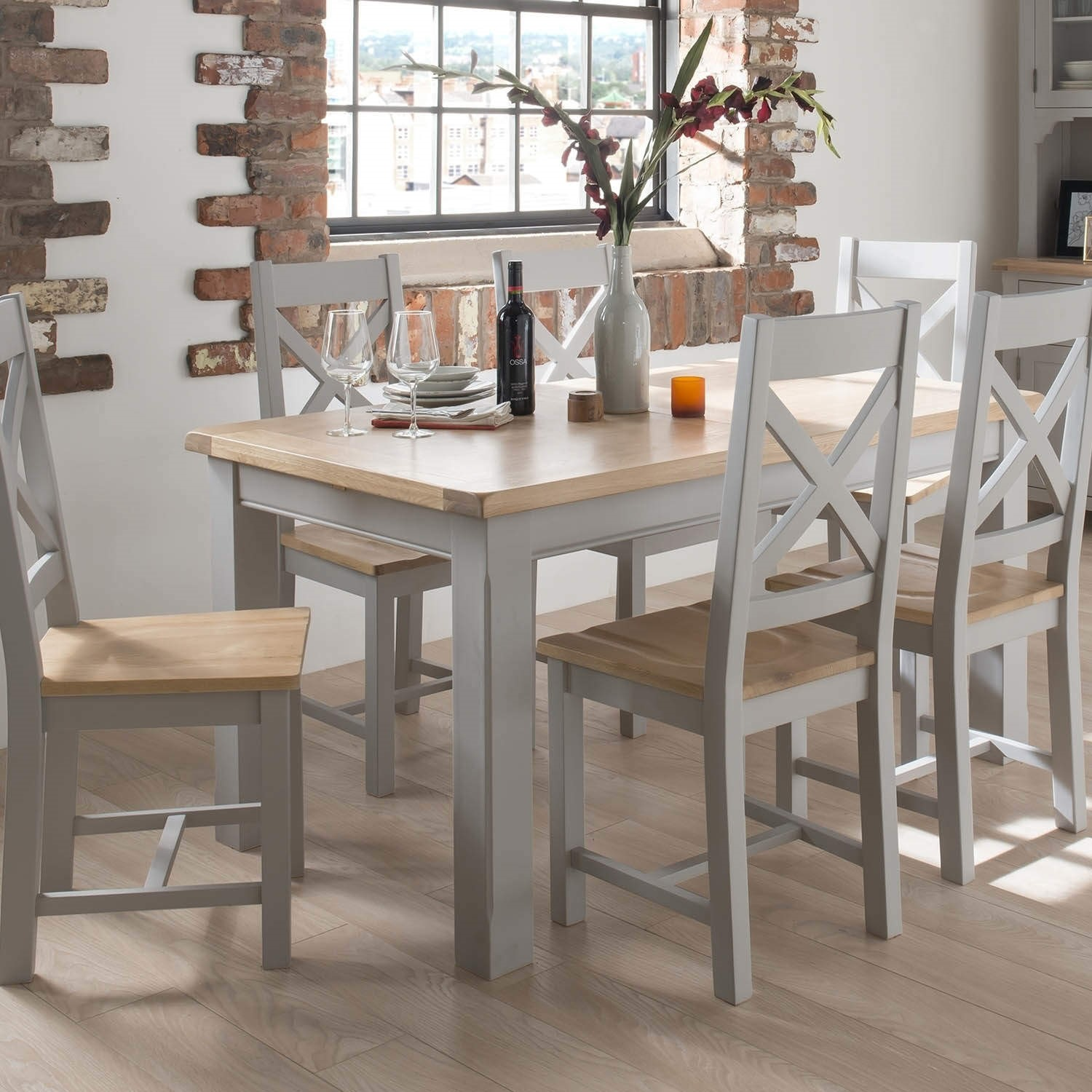 Wilkinson Furniture Clemence Soft Grey And Solid Oak Extending Dining Table    150 190cm