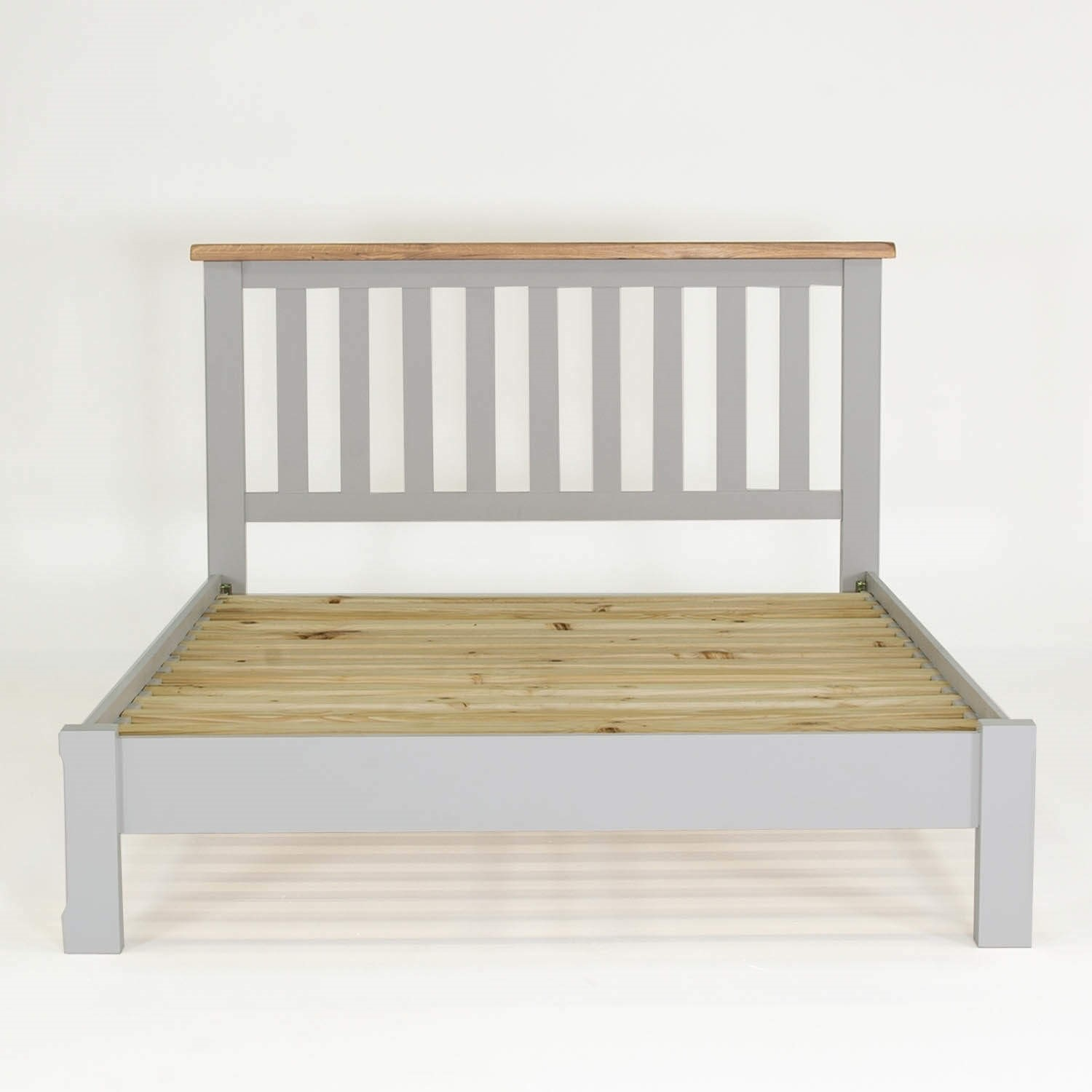 Grey Wooden Double Bed Part - 20: Wilkinson Furniture Clemence Soft Grey And Solid Oak Double Bed