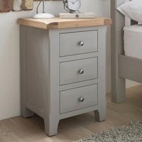 Wilkinson Furniture Clemence Soft Grey and Solid Oak Bedside Table