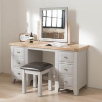 Wilkinson Furniture Clemence Soft Grey and Solid Oak Dressing Table & Stool Set
