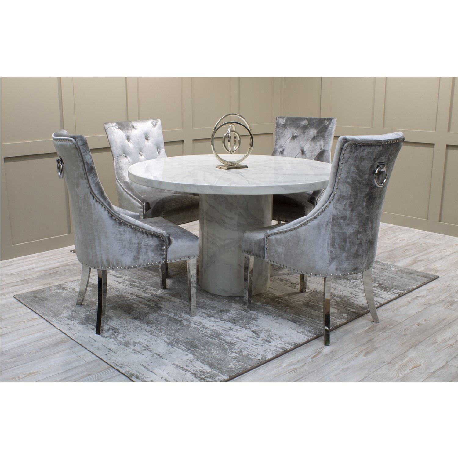 Vida Living Carra Marble Round Dining Table with 4 Grey Dining Chairs in Grey