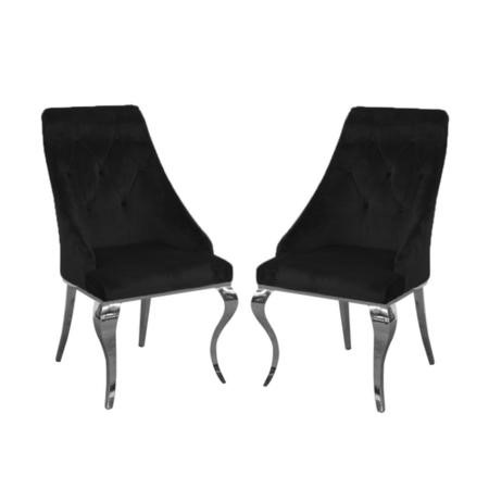Set of 2 Black Velvet Dining Chairs with Silver Legs - Vida Living Cassia