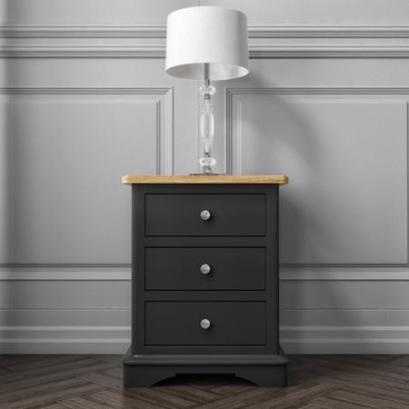 Darley Two Tone Bedside Table in Solid Oak and Anthracite