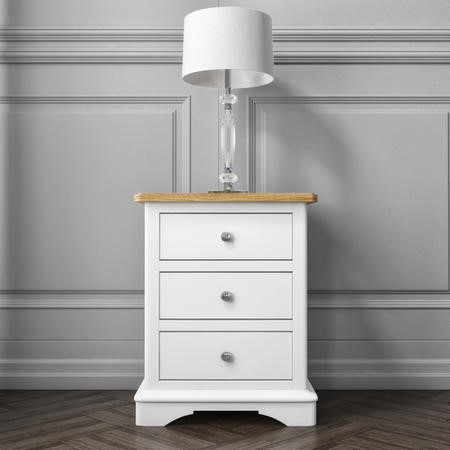 GRADE A1 - Darley Two Tone Bedside Table in Solid Oak and White