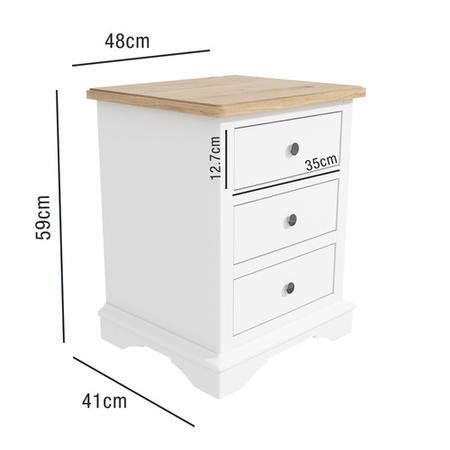 Darley Two Tone Bedside Table in Solid Oak and White