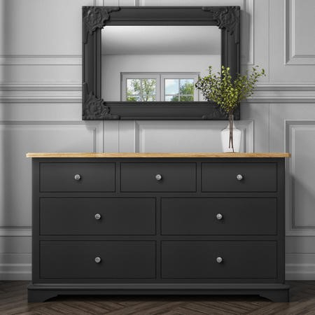 Darley 4+3 Wide Sideboard in Solid Oak and Anthracite