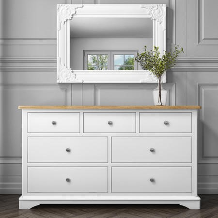 Darley 4+3 Wide Chest of Drawers in Oak and White