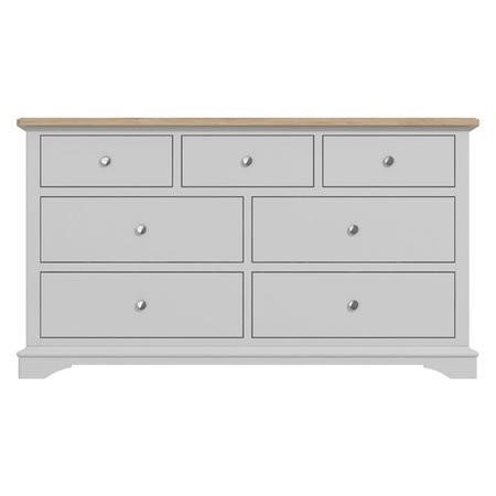 Darley Two Tone Wide Chest of Drawers in Solid Oak and Light Grey