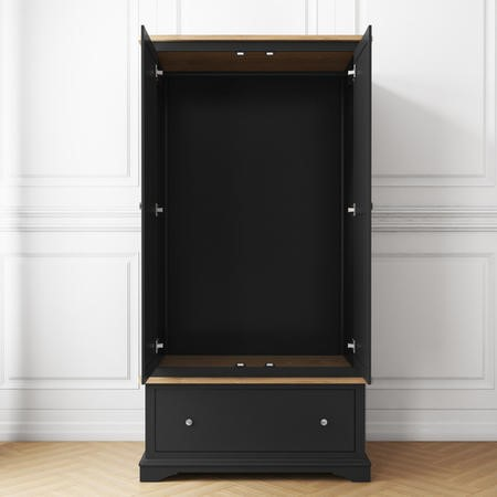 Darley Two Tone Wardrobe in Solid Oak and Anthracite