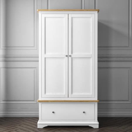Darley White Double Wardrobe in Solid Oak with Drawer