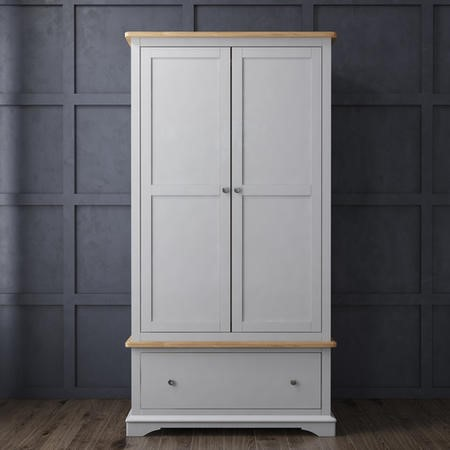GRADE A1 - Darley Two Tone Wardrobe in Solid Oak and Light Grey