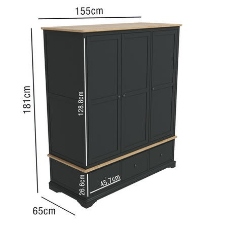 Darley Two Tone Triple Wardrobe in Solid Oak and Anthracite