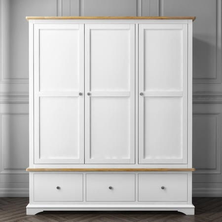 Darley White Triple Wardrobe in Solid Oak with Drawers