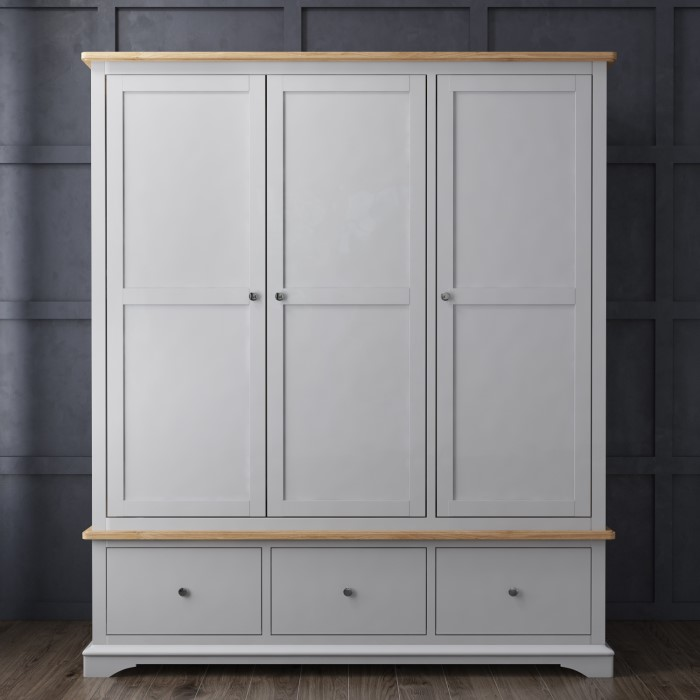 Darley Light Grey Triple Wardrobe In Solid Oak With