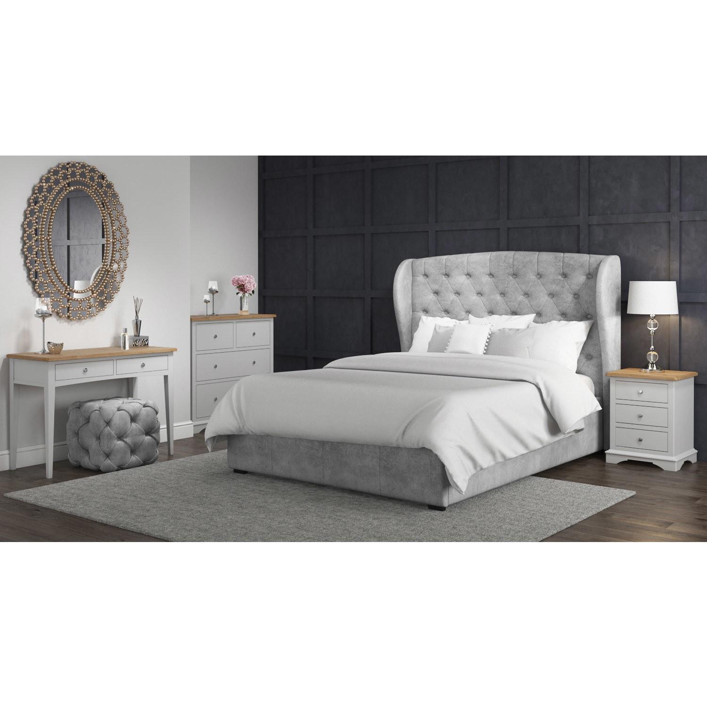 Darley Light Grey Triple Wardrobe In Solid Oak With Drawers Furniture123