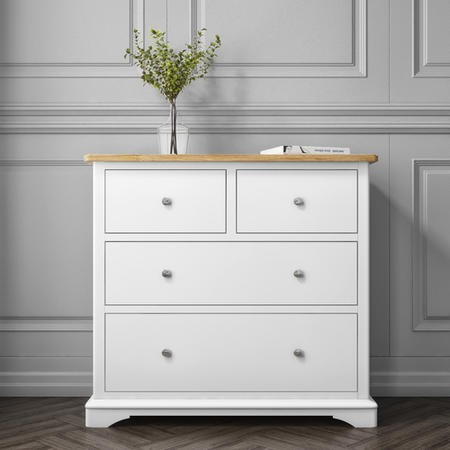 Darley Two Tone Chest of Drawers in Soild Oak and White
