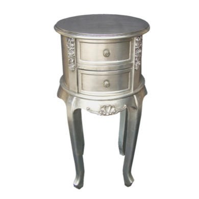 Wilkinson Furniture Dauphine Round Night Table in Silver