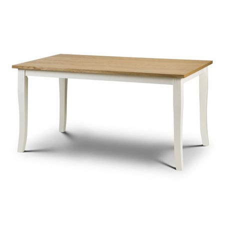 Davenport Ivory & Solid Oak Farmhouse Dining Table - Julian Bowen