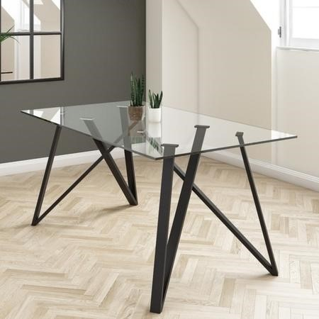 Glass Dining Table with Black Metal Legs- Seats 6 - Dax
