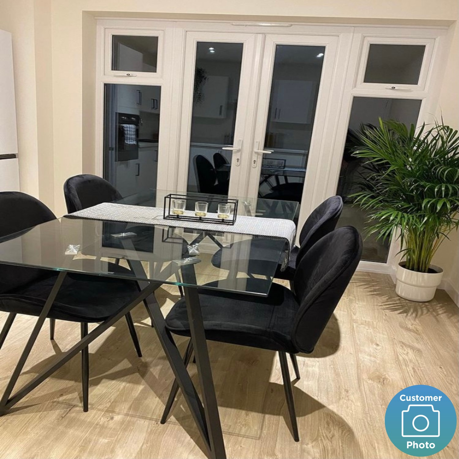 Glass Dining Table With Black Metal, Dining Room Set Metal Legs