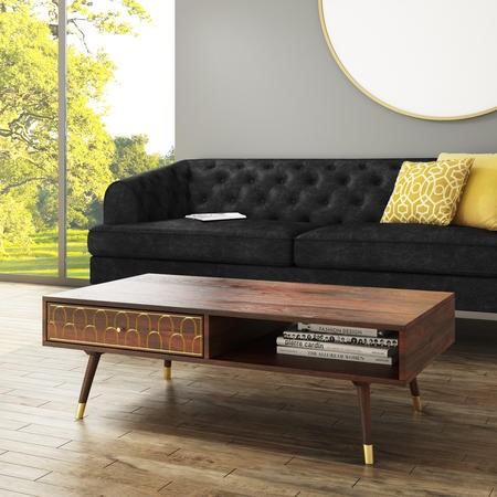 Dejan Dark Wood with Gold Inlay Coffee Table