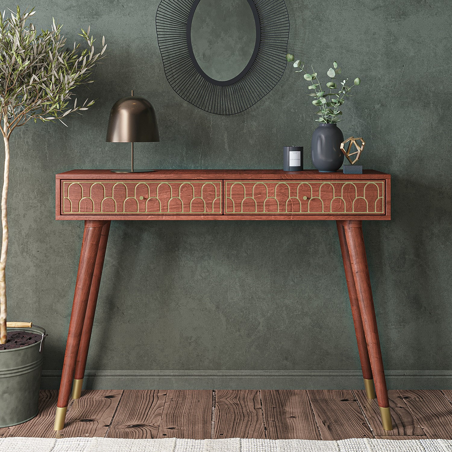 Narrow Console Table In Dark Wood With Gold Inlay Drawers Dejan