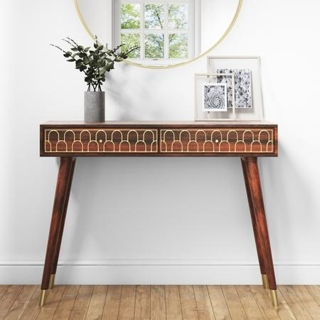 Dejan Dark Wood with Gold Inlay Console Table