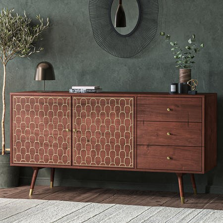 Large Sideboard with Storage in Dark Wood & Gold - Dejan