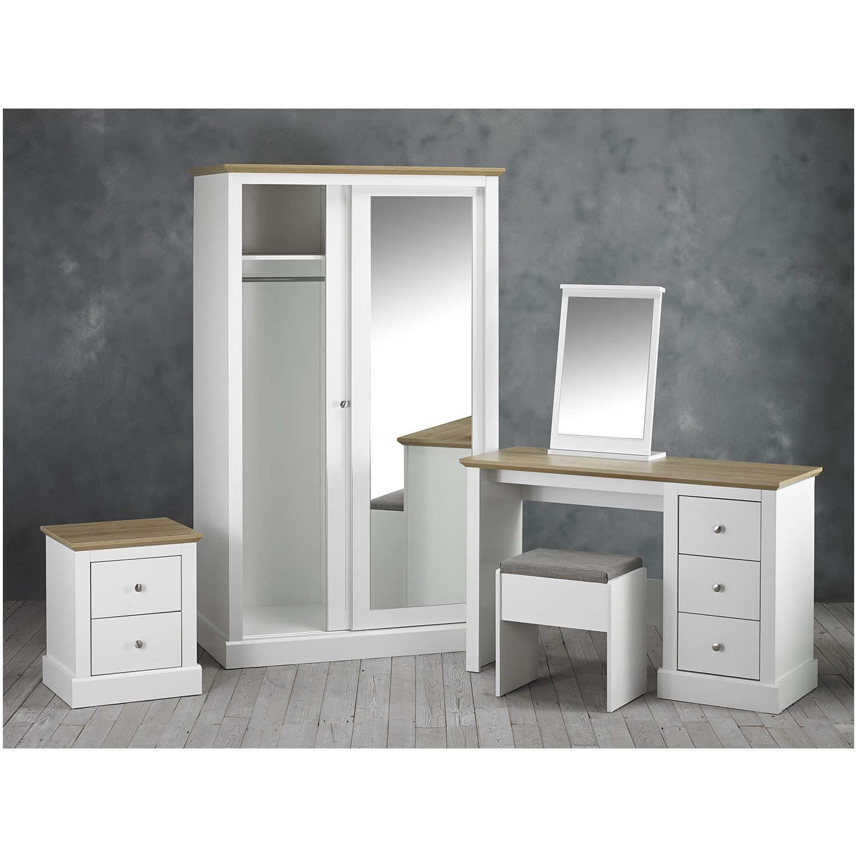 LPD White Mirrored 2 Door Sliding Wardrobe - Devon   Furniture123
