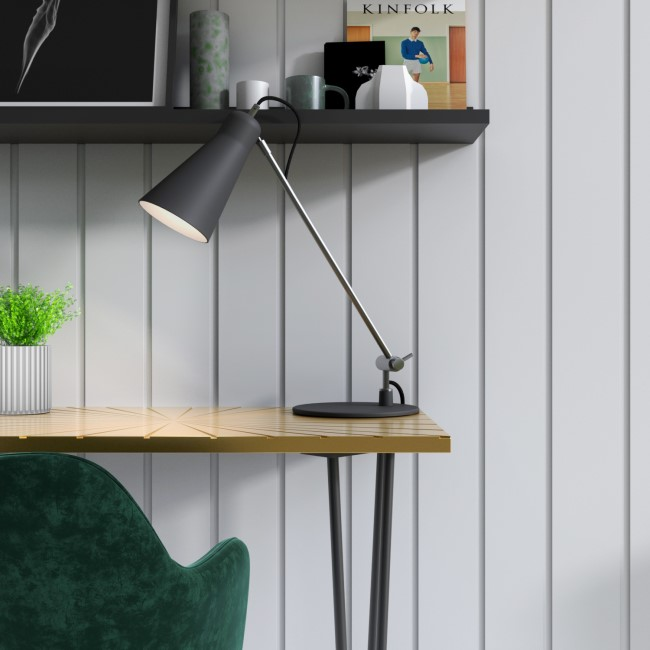 Matte Black Desk Lamp with Silver Finish - Grantley