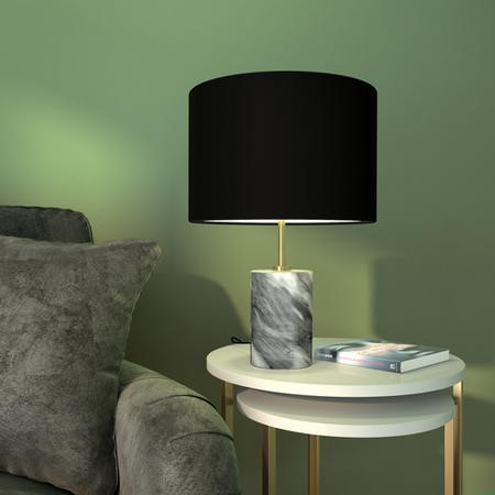 Table Lamp with Grey Marble Base & Black Shade - Shipton