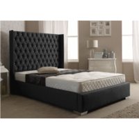 Dumarque Double Luxury Wing Bed Frame in Charcoal Linen Fabric