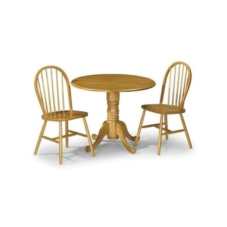 Julian Bowen Dundee Round Pine Dining Table & 2 Windsor Pine Chairs
