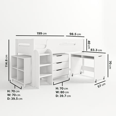 Dynamo White Cabin Bed - Ladder Can Be Fitted Either Side