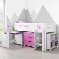 dynamo girls pink cabin bed ladder can be fitted either side