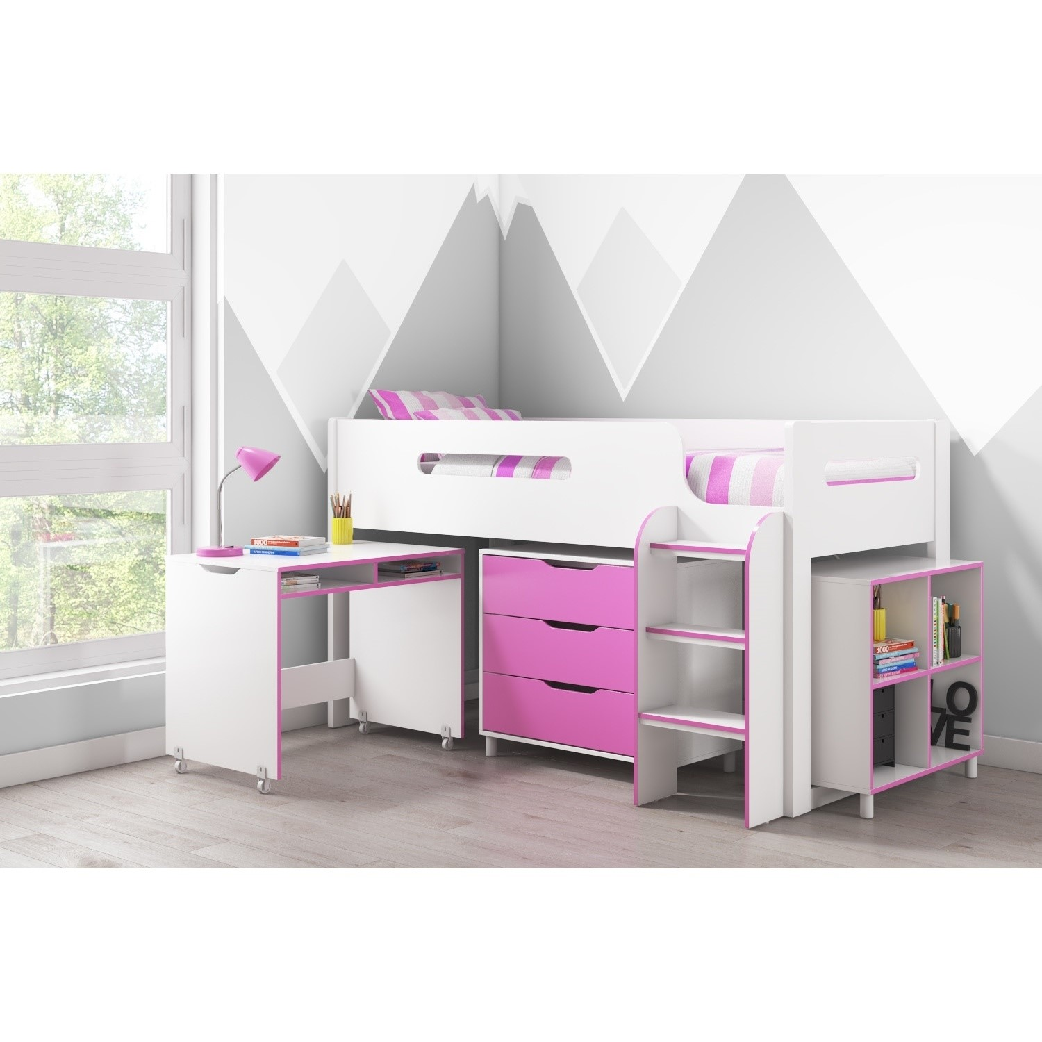Pleasing Dynamo Girls Pink Cabin Bed Ladder Can Be Fitted Either Side Download Free Architecture Designs Pushbritishbridgeorg