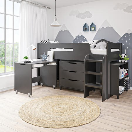 Dynamo Dark Grey Cabin Bed Ladder Can Be Fitted Either Side Furniture123
