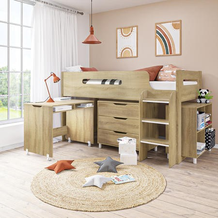 Dynamo Light Oak Cabin Bed - Ladder Can Be Fitted Either Side