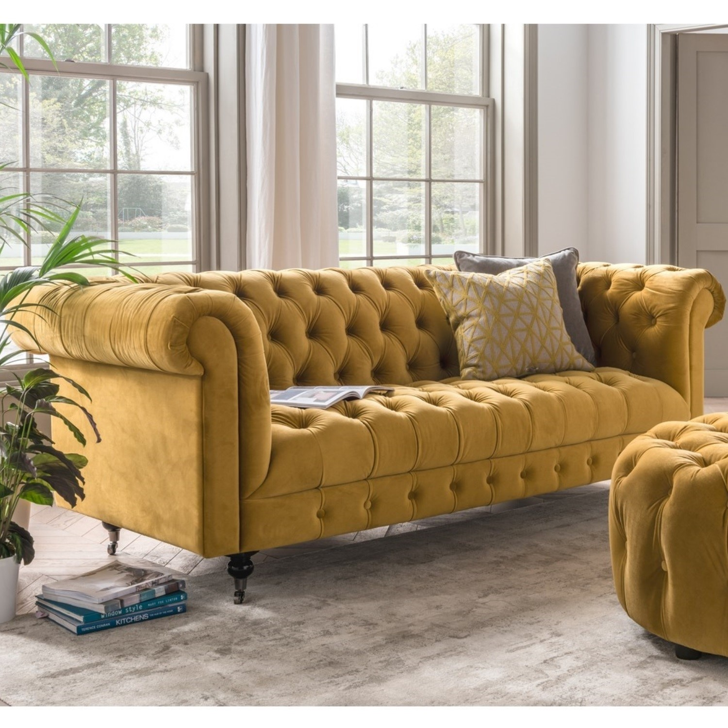 Incredible Darby 3 Seater Chesterfield Sofa In Mustard Yellow Velvet Gmtry Best Dining Table And Chair Ideas Images Gmtryco