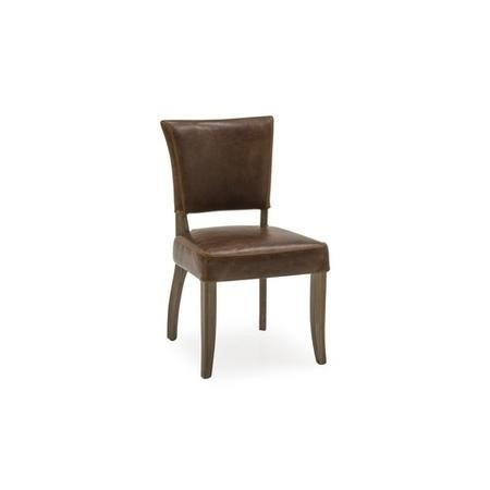 Duke Brown Leather Dining Chair with Solid Oak Frame
