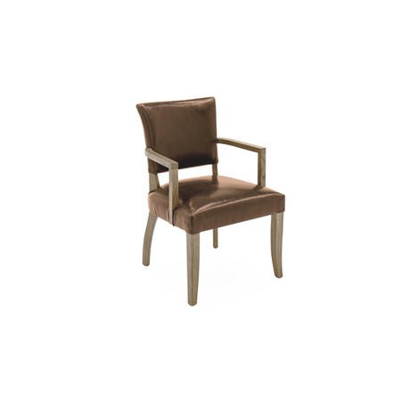 Duke Brown Leather Arm Chair with Solid Oak Frame