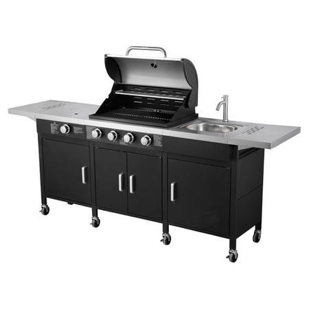 The Texas Outdoor Elite 4 Burner Gas BBQ Kitchen in Black