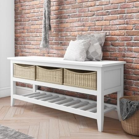 Elms Bench Shoe Rack with Seat & Wicker Baskets in White