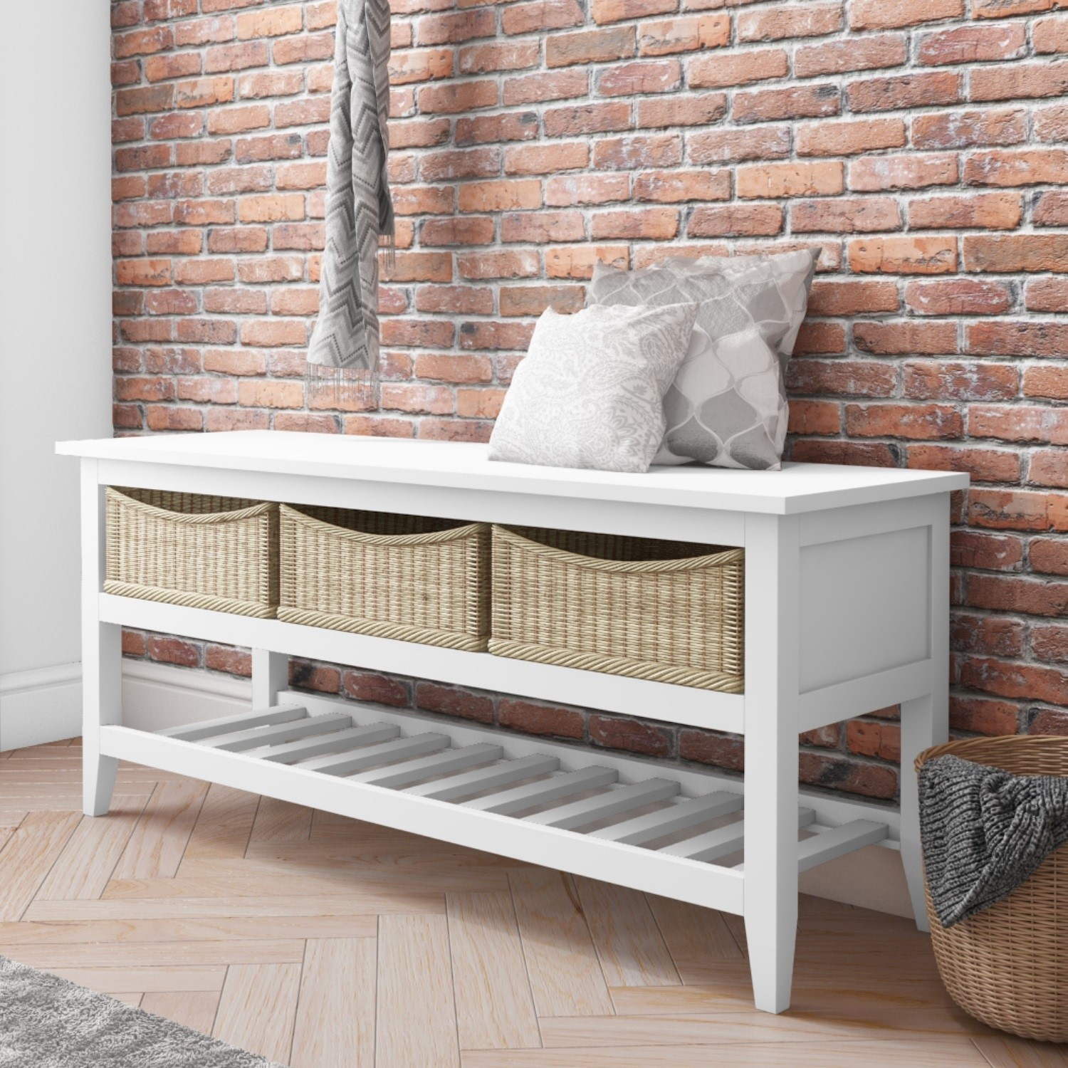 Astonishing Grade A1 White Wooden Shoe Rack Storage Bench With Wicker Baskets Elms Farmhouse Onthecornerstone Fun Painted Chair Ideas Images Onthecornerstoneorg